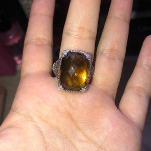 Brown stone silver ring
